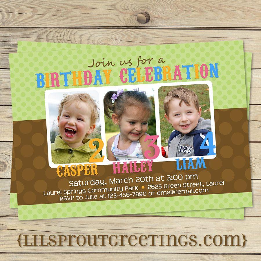 Joint Twin Triplet Photo Birthday Invitation 1800 Via Etsy