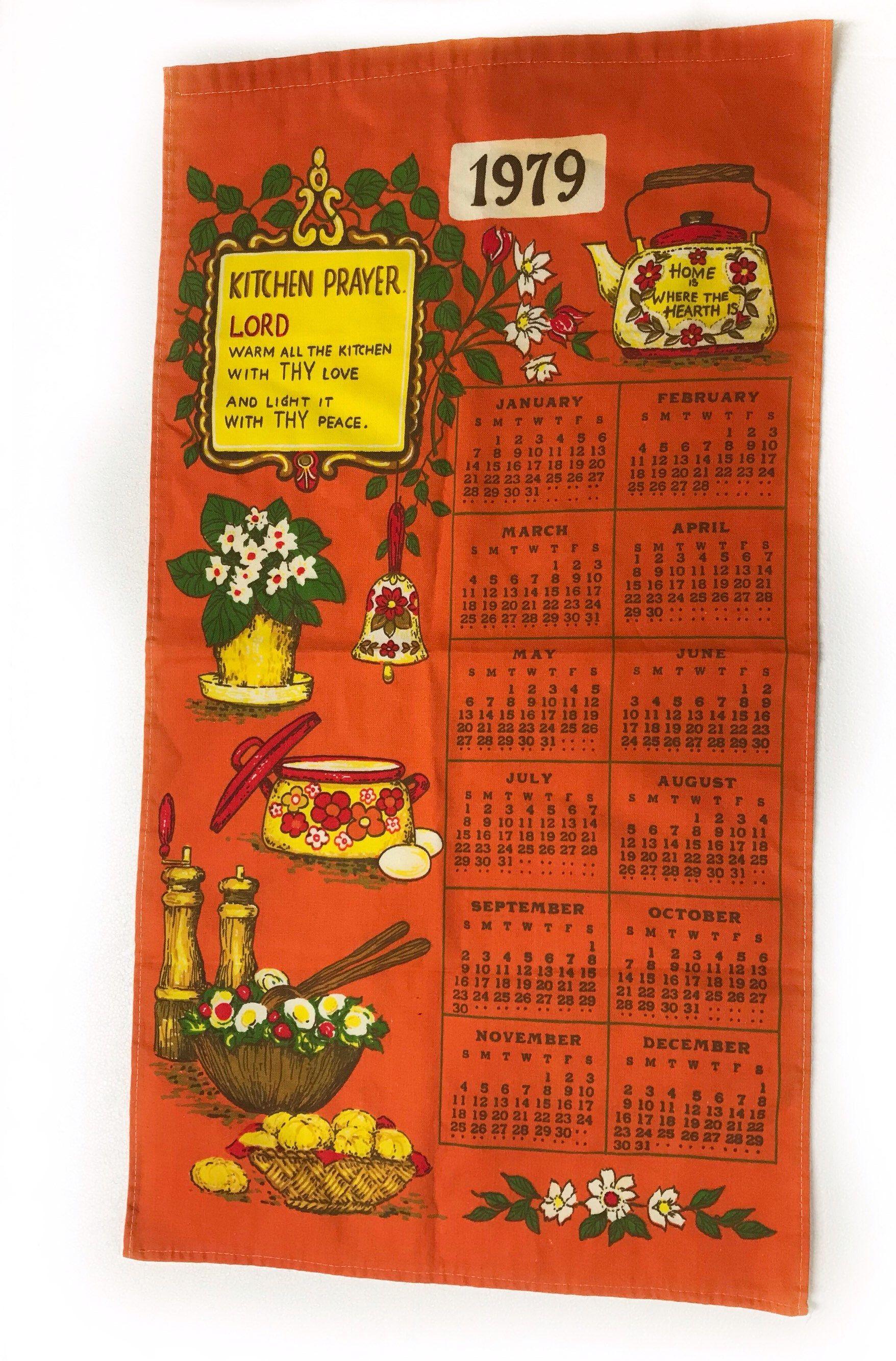 Vintage 1979 Fabric Kitchen Tea Towel Hanging Calendar Orange