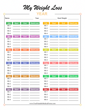 bright and colorful this annual weight loss tracker has