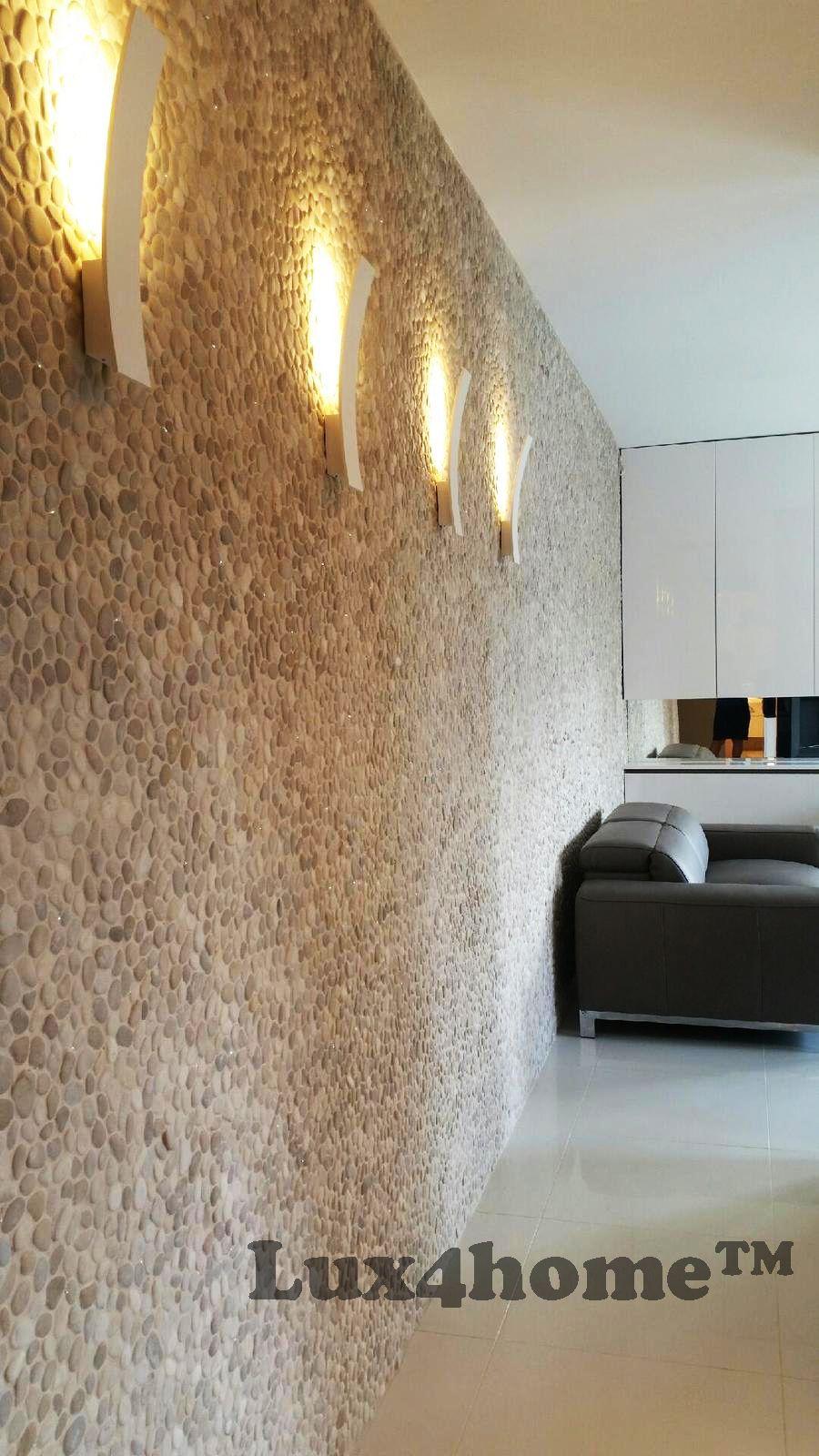 Luxury apartment with #Pebble #Tiles on walls. #Beige Pebble Tiles ...