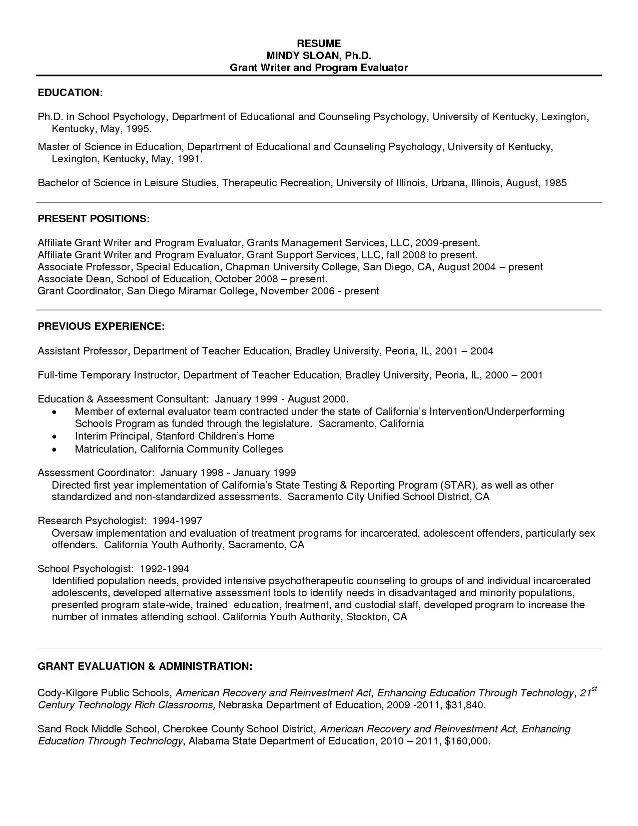 Resume Sample For Psychology Graduate Resume For Graduate School