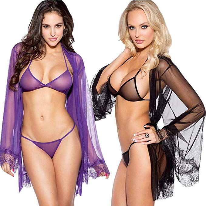 9a0566cde72b Fat.chot Women Lingerie Set Mesh Transparent Bra G-String Thongs Panty  Cardigan Underwear Sexy Babydoll Sleepwear Simple: Amazon.co.uk: Clothing