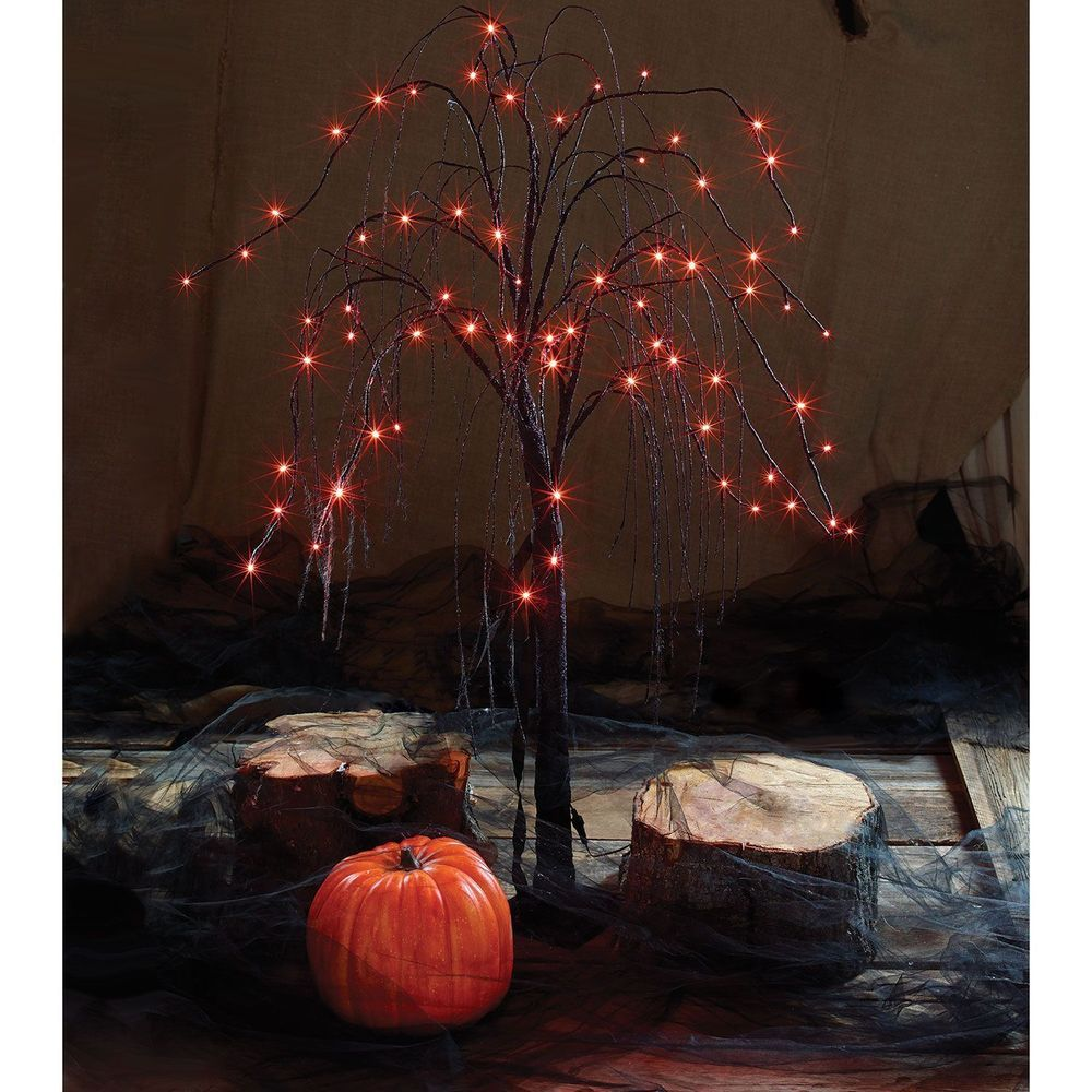 Halloween willow trees set of 2 lightup spooky orange