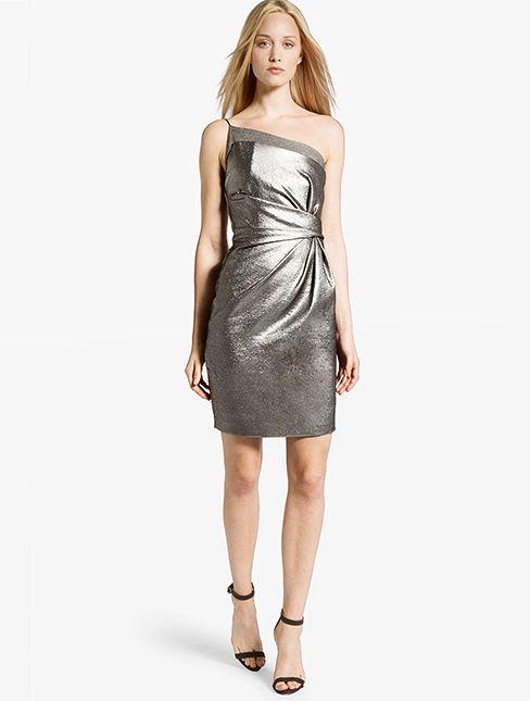 Halston Heritage -Metallic Asymmetric Dress-SILVR-0