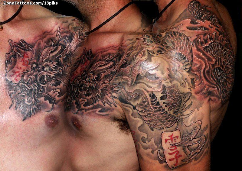 Tatuaje de Dragones, Orientales, Pecho Tatuajes de dragón, Quieres