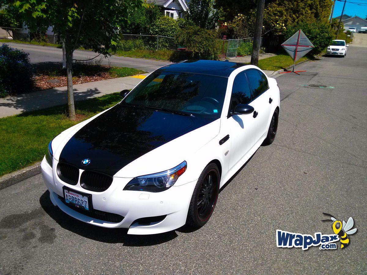Wrapjax Co Matte White Gloss Black Vehicle Wrap On Bmw M5 Wrapjax Car Wrap Bmw Boat Wraps