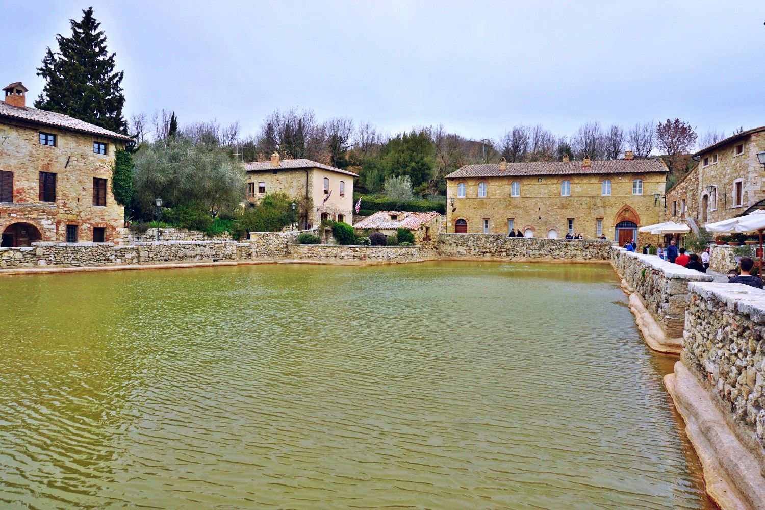 Bagno Vignoni Where The Main Piazza Is A Hot Water Pool Water