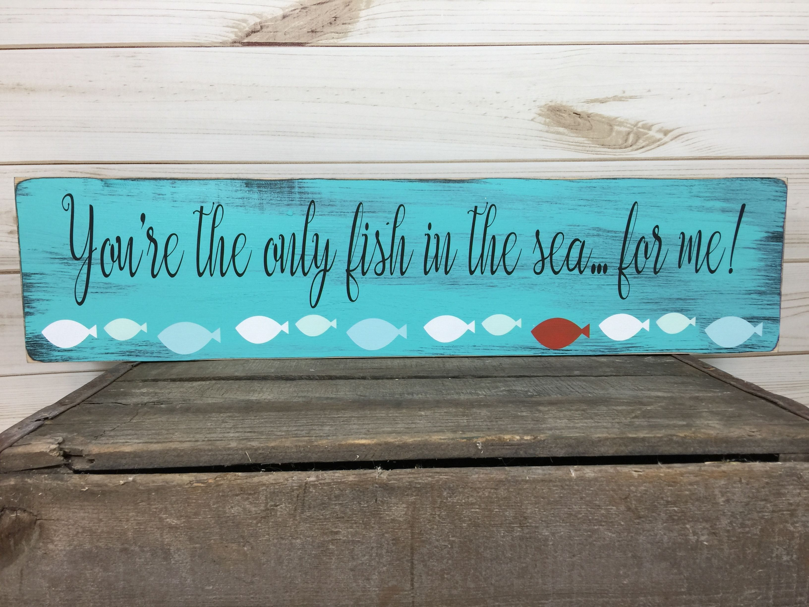 Fish Sign For Lake Or Beach House Decor Fisherman Gift Etsy Beach Wood Signs Rustic Beach Signs Beach Signs