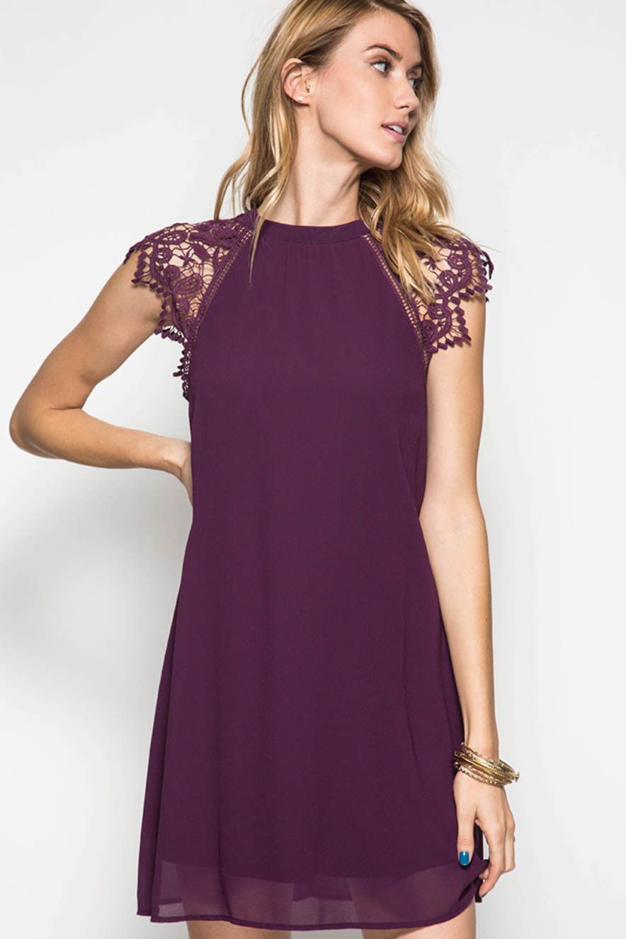 Lace Cap Sleeve Shift Dress with Self Tie Back | Moda | Pinterest ...