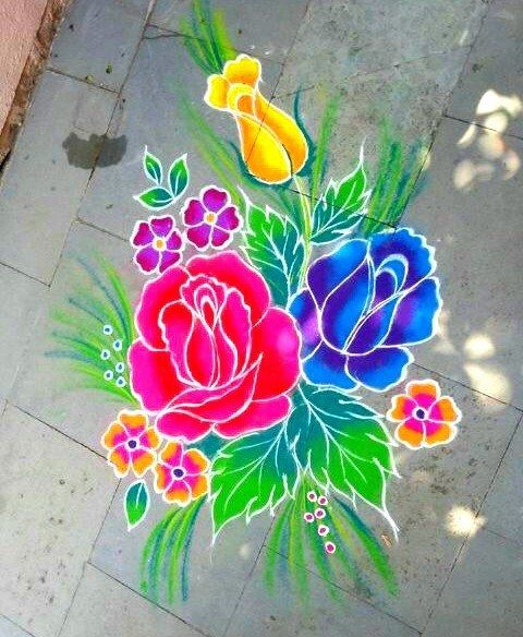 Attractive Rose Flower Rangoli New Year Rangoli Computative Rangoli Muruja Jhoti Kolam Muggulu Youtu Flower Rangoli Colorful Rangoli Designs New Year Rangoli