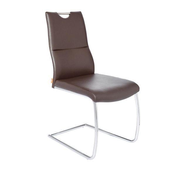 Schwingstuhl In Metall Textil Braun Chromfarben Freischwinger Schwingstuhl Stuhle