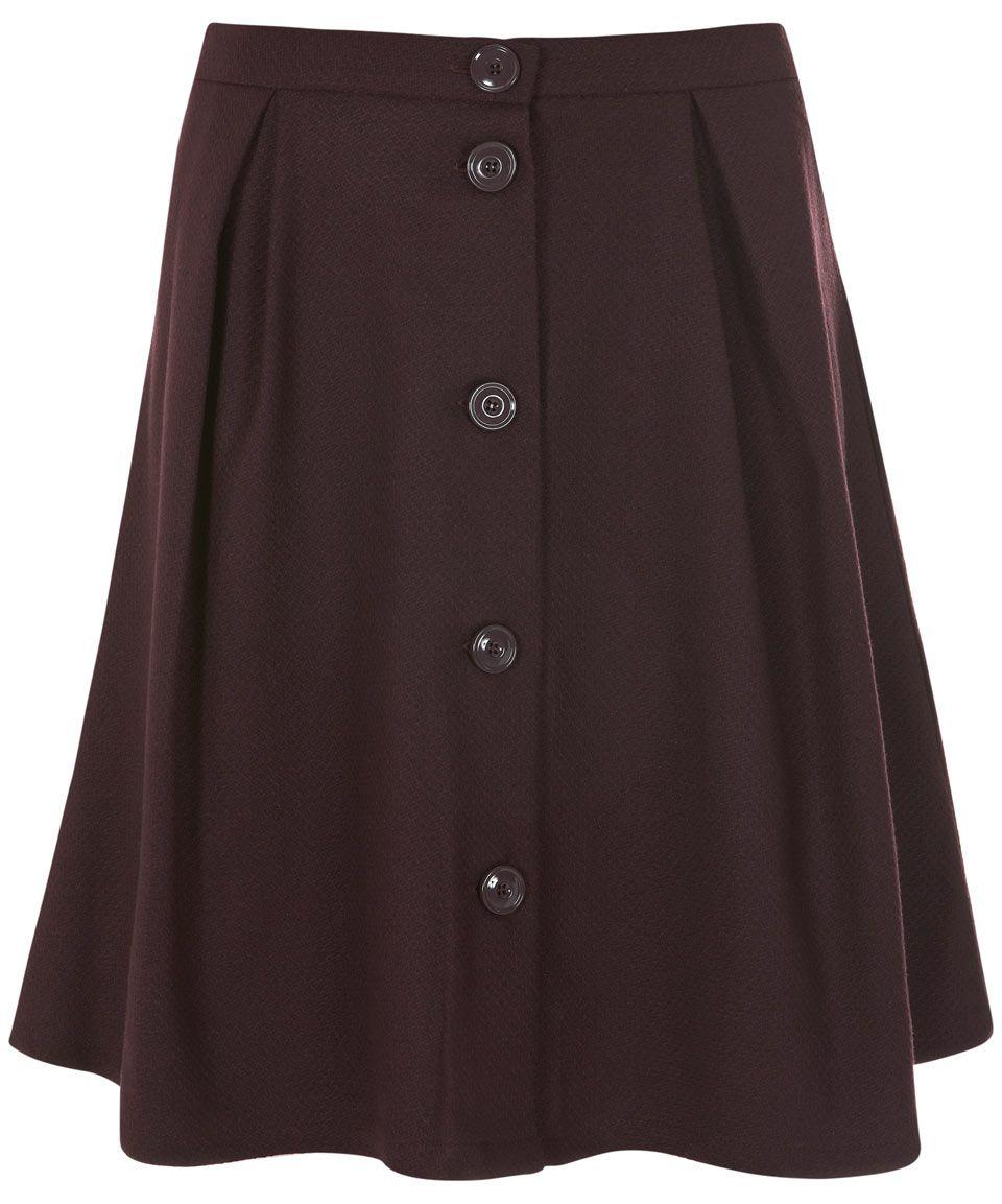 Burgundy button down wool skirt