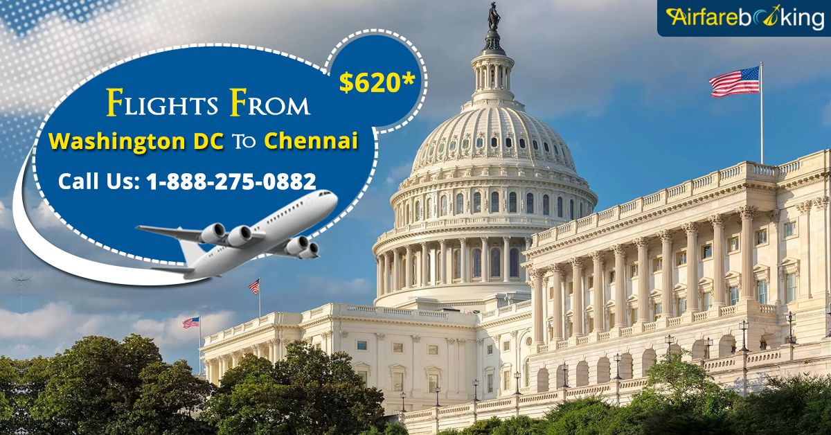 Limited Time Offer! Hurry!  Cheap flights from #Washington DC to #Chennai at $620* only at #Airfarebooking. Book Now!  For more information call us at- 1-888-275-0882 (Toll-Free).  #flightstochennai #bookchennaiflights #Luxury #Travel #BookCheapFlights #travelforless #flightdeals