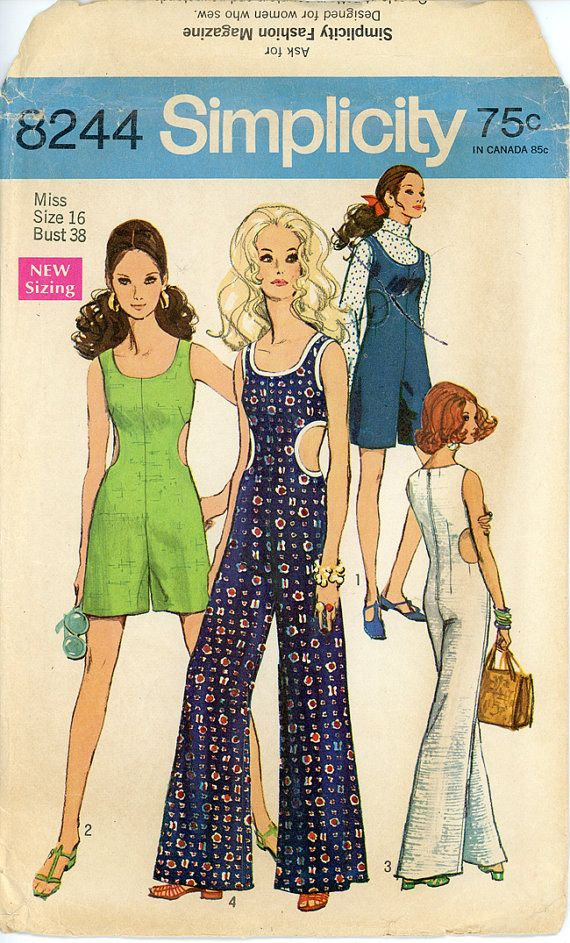 1960s Cut Out Jumpsuit Pattern Bust 38 Simplicity by CynicalGirl ...
