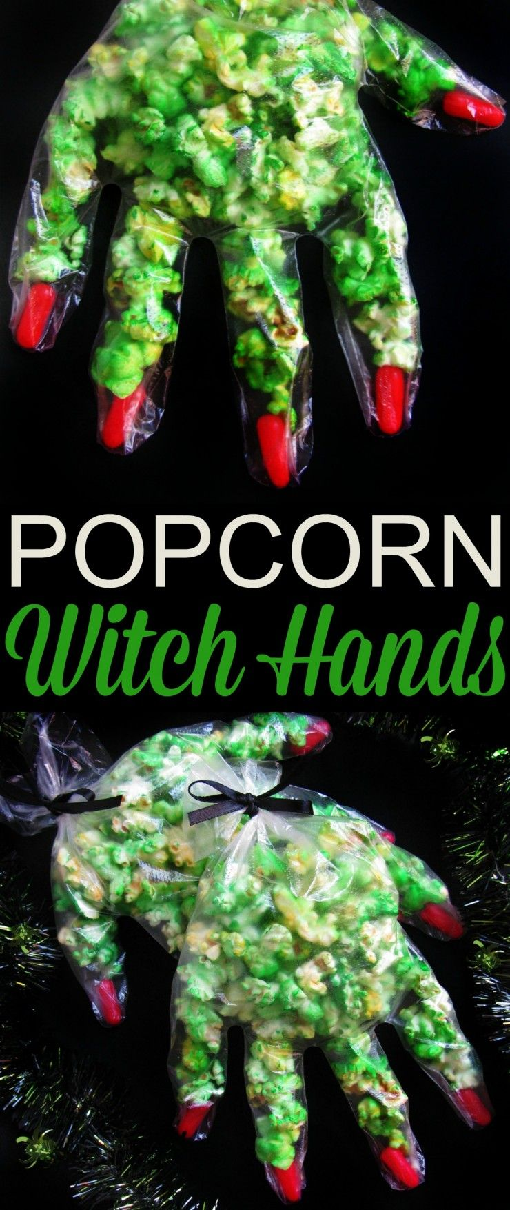 These super cute popcorn witch hands are easy to make with just 3 ingredients. They are great for Halloween parties, class treats or just something fun to make with the kids!