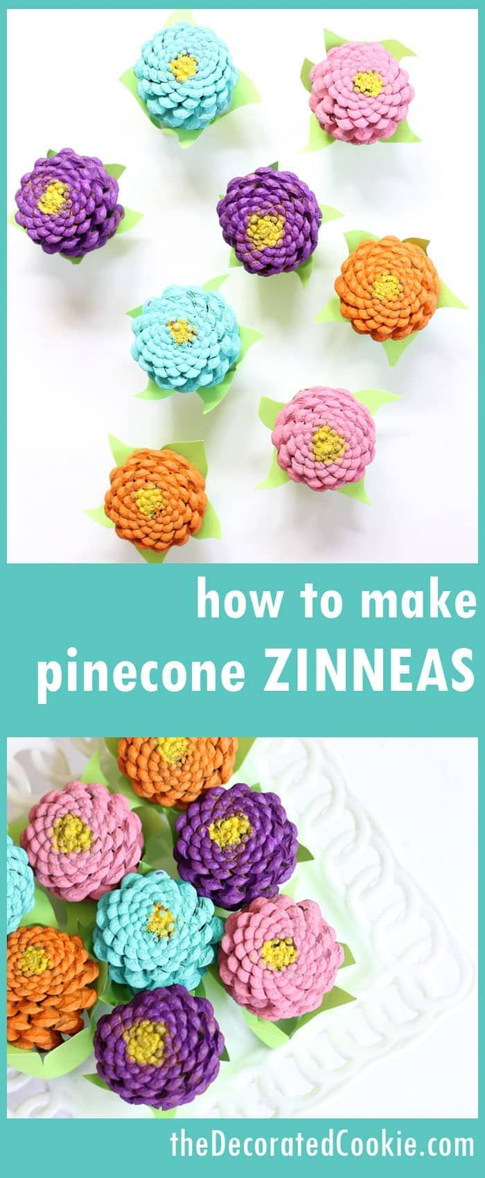 Easy pinecone Zinneas! How to paint pinecones to look like flowers. Home decor craft, Spring crafts, Mother's Day or Easter centerpiece.