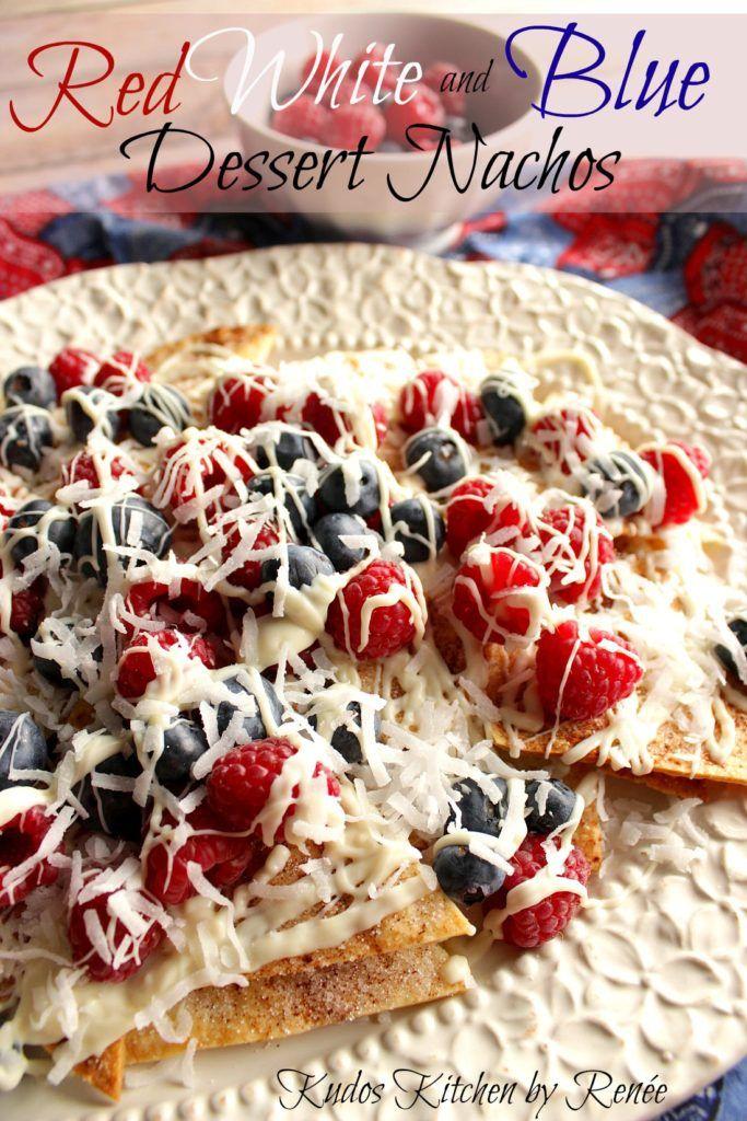 Cinnamon Sugar Dessert Nachos with berries