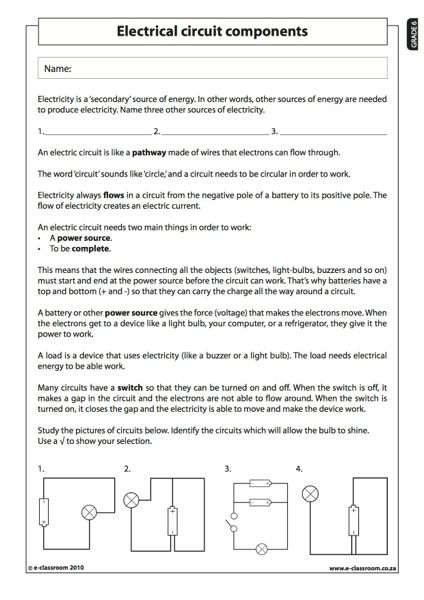 electrical circuit components natural science worksheet (grade 6
