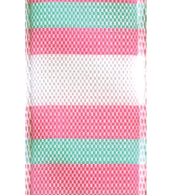 "Offray 5/8""x9' Block Stripes Woven Ribbon - Rose"