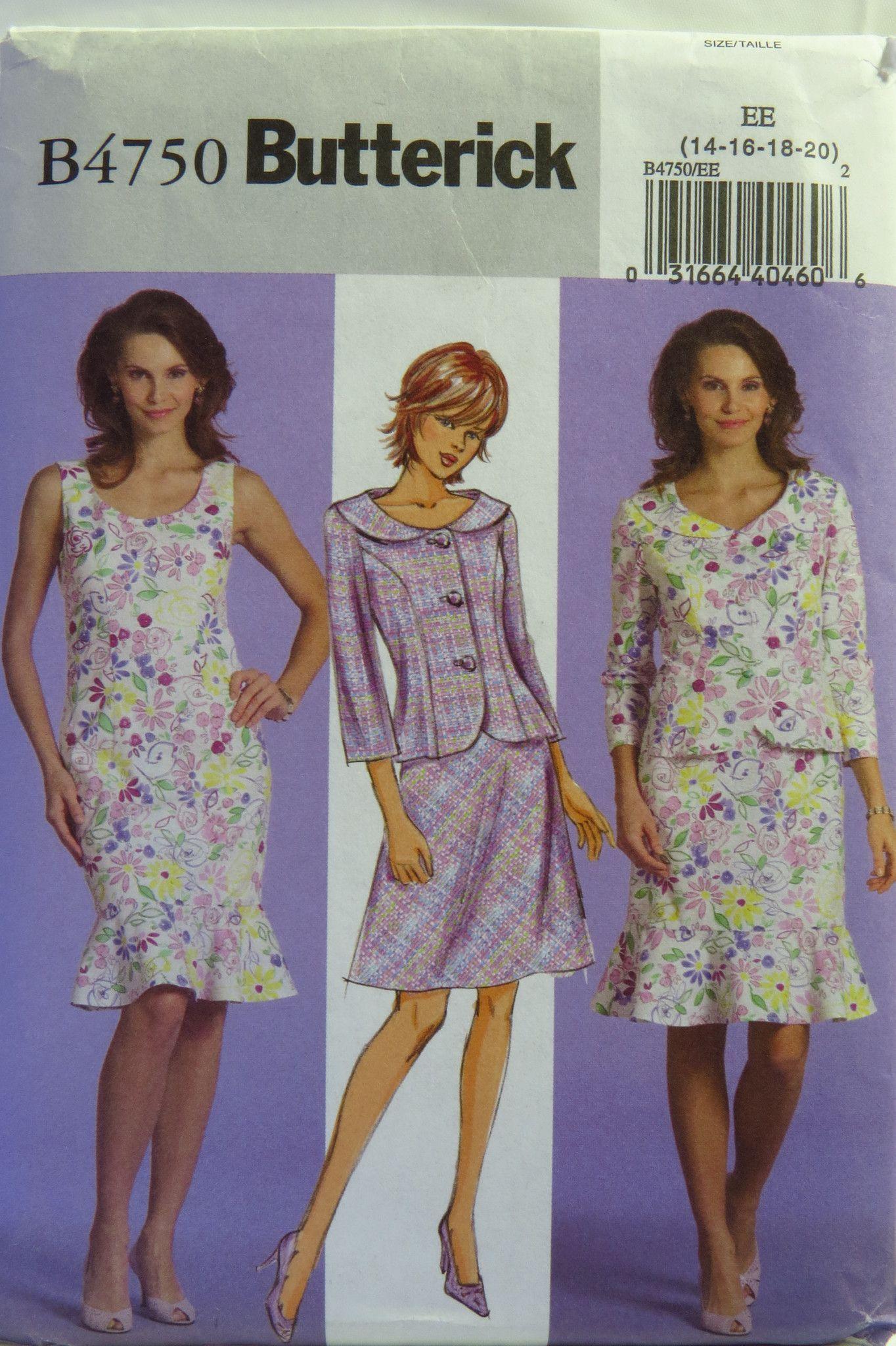 Butterick 4750 Misses'/Misses' Petite Jacket, Dress and Skirt