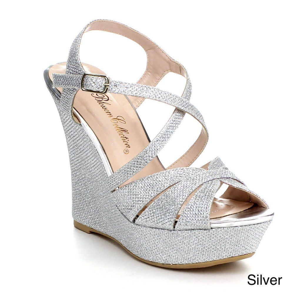 Blossom Womens Baja 3 Glitter Strappy Criss Cross Platform Wedge Dress Sandals Silver 7 5 Wedge Wedding Shoes Wedding Shoes Heels Bridesmaid Shoes