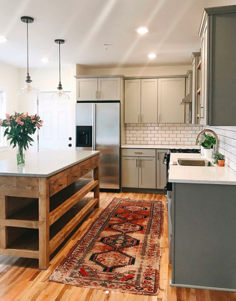Using Vintage Runners To Warm Up Your Kitchen Home Grey Kitchen