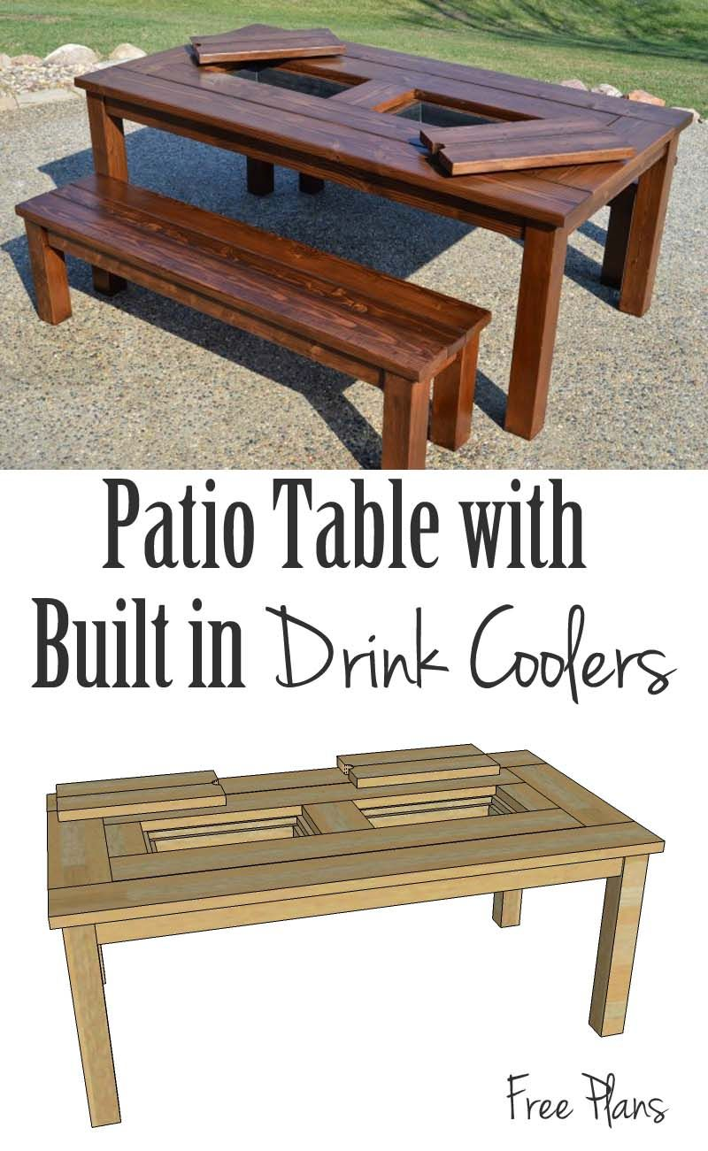 This patio table is perfect for entertaining, from spring to summer to  fall! Built-in drink cooler/ice boxes keep your drinks chilled, so the  party never ... - This Patio Table Is Perfect For Entertaining, From Spring To Summer