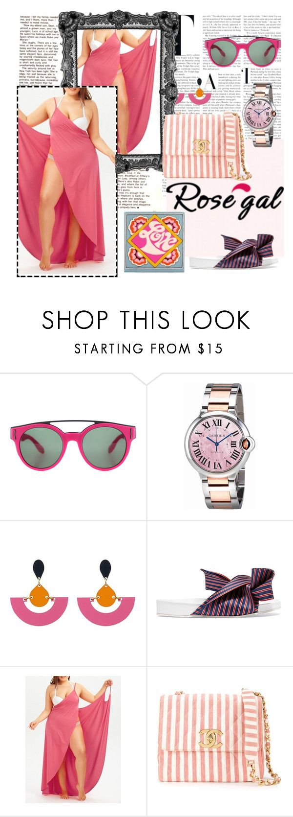 """""""Love Production"""" by chelsofly on Polyvore featuring Givenchy, Cartier, John Lewis, N°21, Chanel, Olympia Le-Tan, Pink, poolparty, plussize and coverUp"""