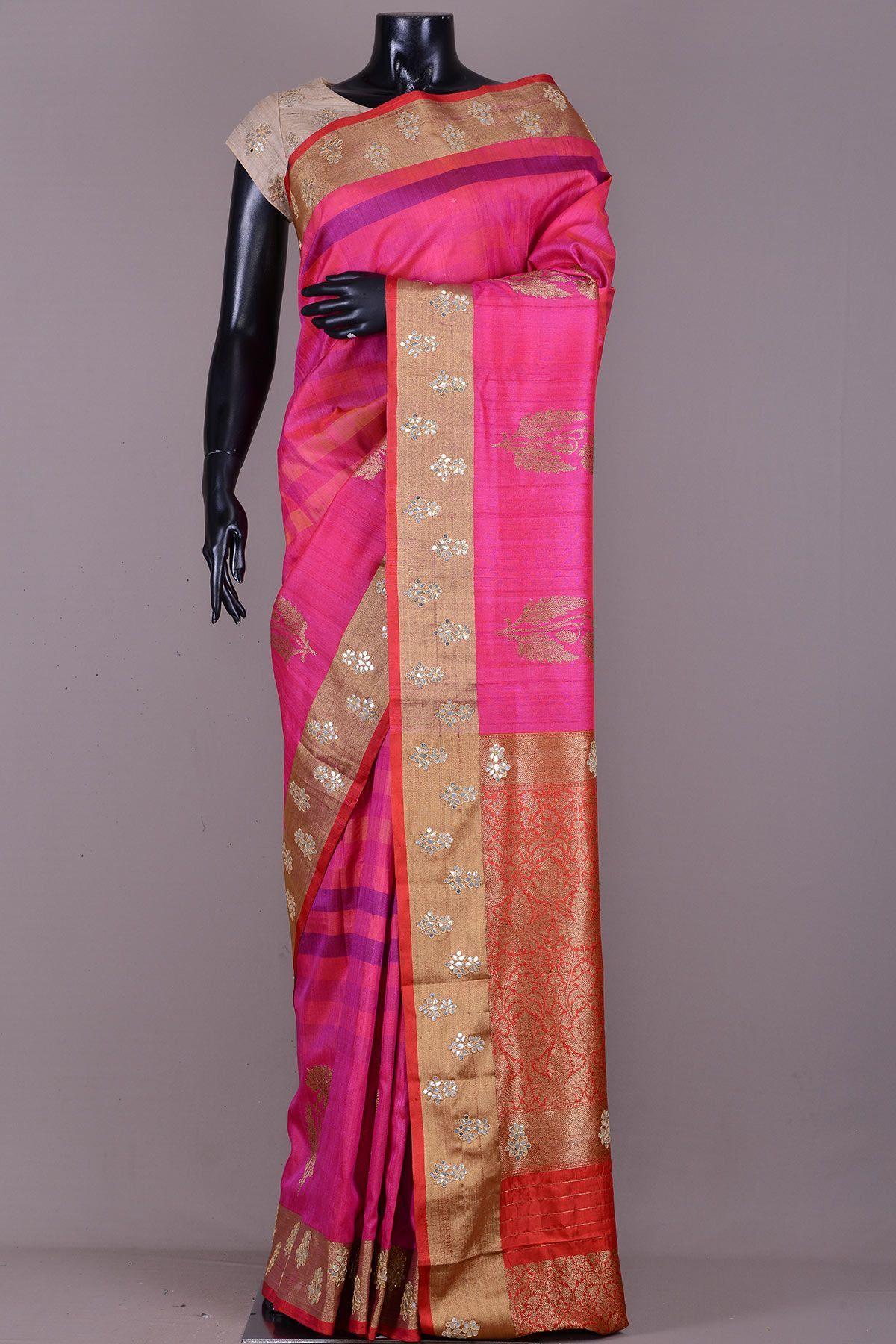 Off white tussar silk saree pink u orange dual tone tussar silk zari woven sareevj  pure