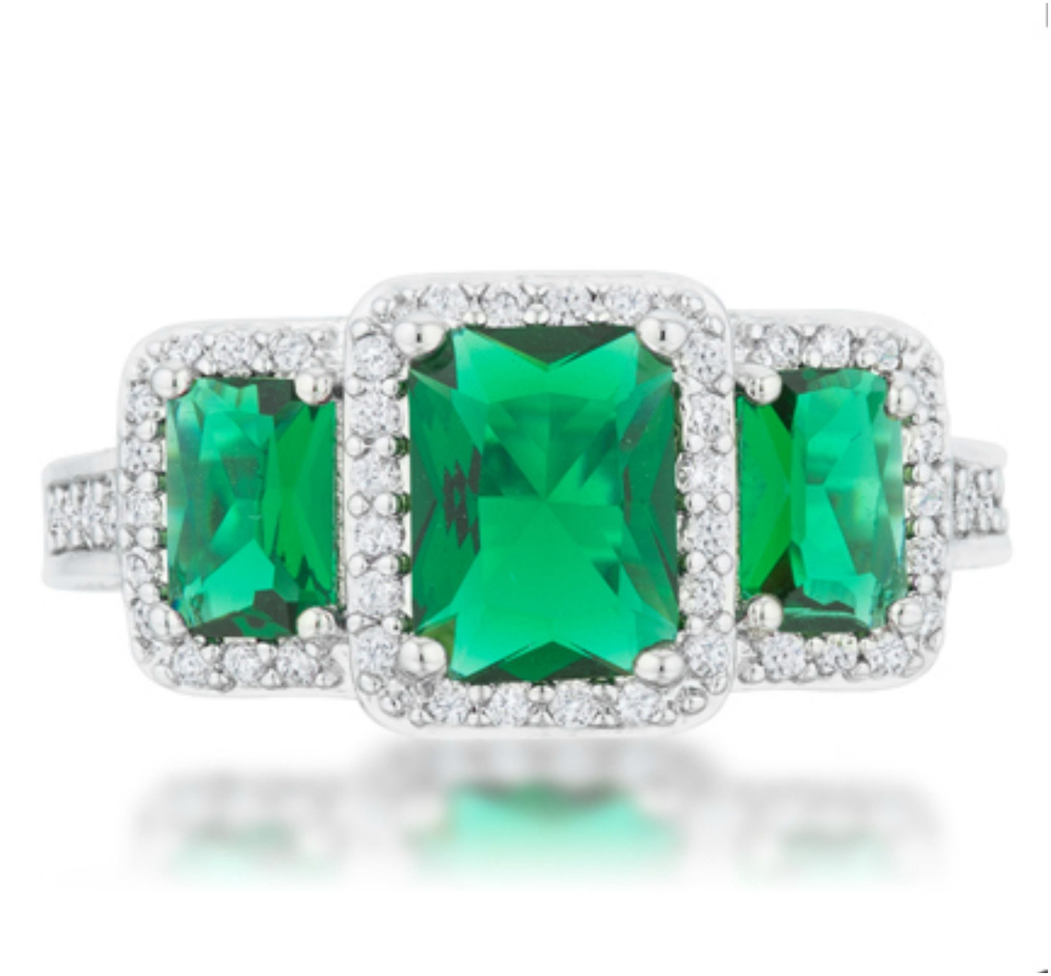 matching ring halo radiant mount cut gold band semi engagement diamond emerald w image round