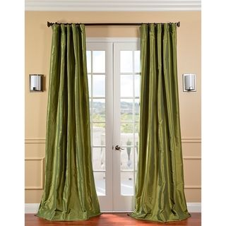 Fern Green Solid Faux Silk Taffeta 96 Inch Curtain Panel