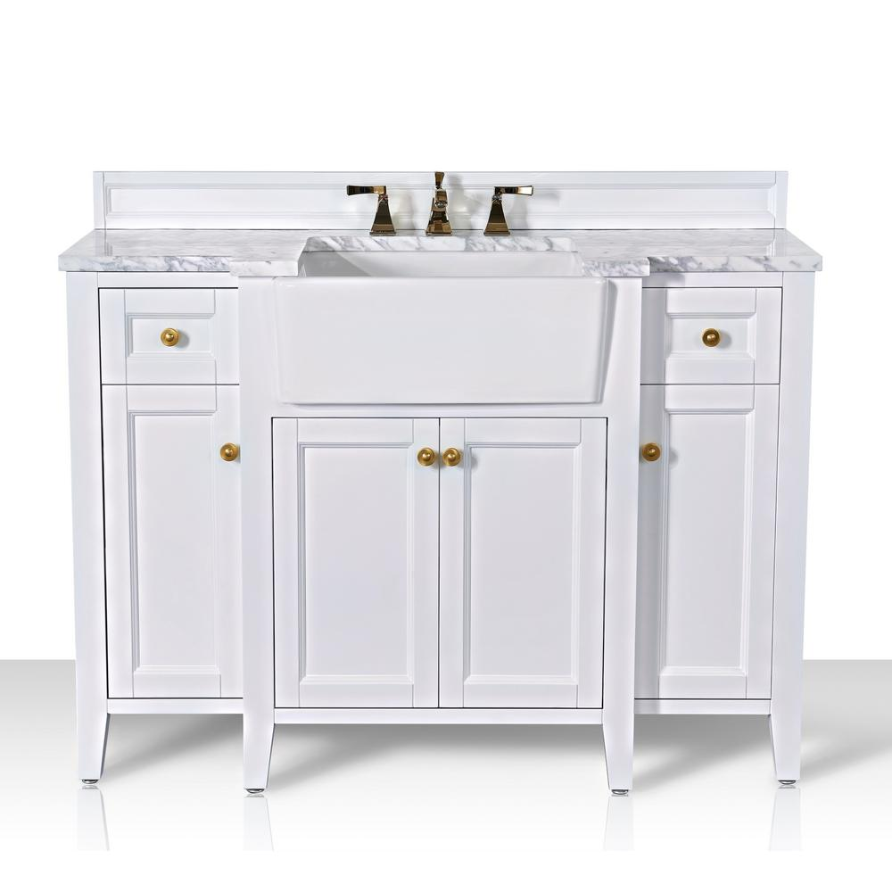 Adeline 48 In W X 20 1 In D Bath Vanity In White With Marble