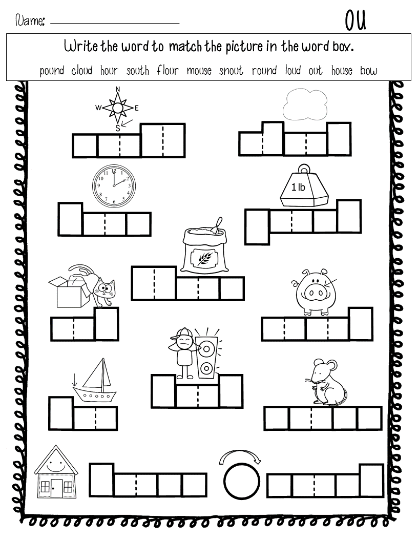 hight resolution of Diphthongs ou ow: Word Work   Word work