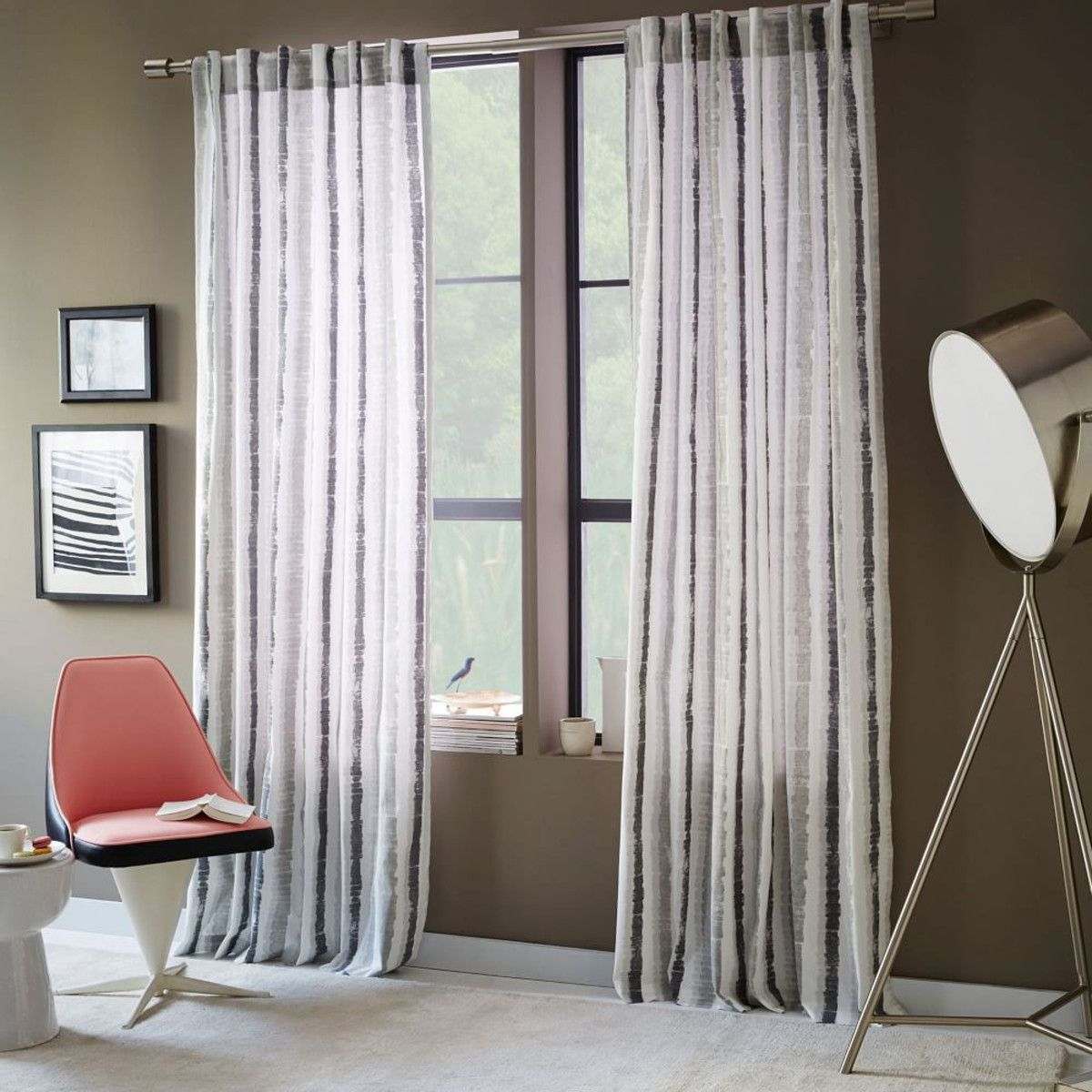 Watercolour stripe printed curtain pewter batchelor living
