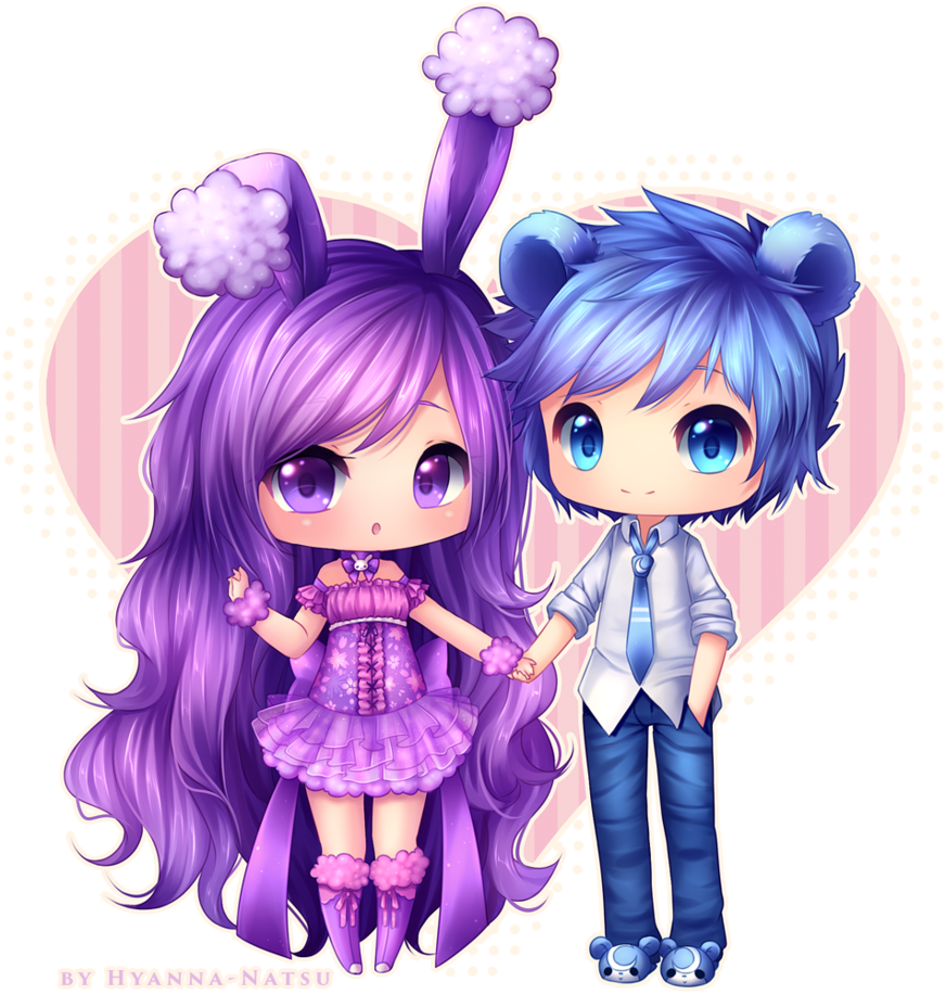 Commission Buneary Hime And Lord Teddi Cute Anime Chibi Anime Chibi Cute Kawaii Drawings