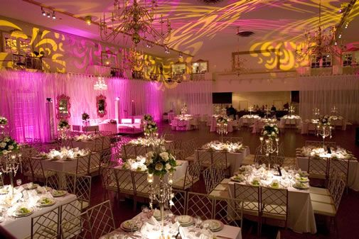 French Theme Wedding Reception White And Gold With Pink Lights