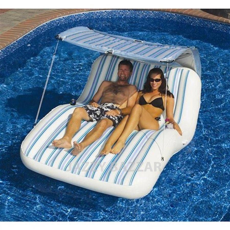 Solstice Luxury Cabana Lounge Inflatable Pool Floating Chair With Sun Shade  Top