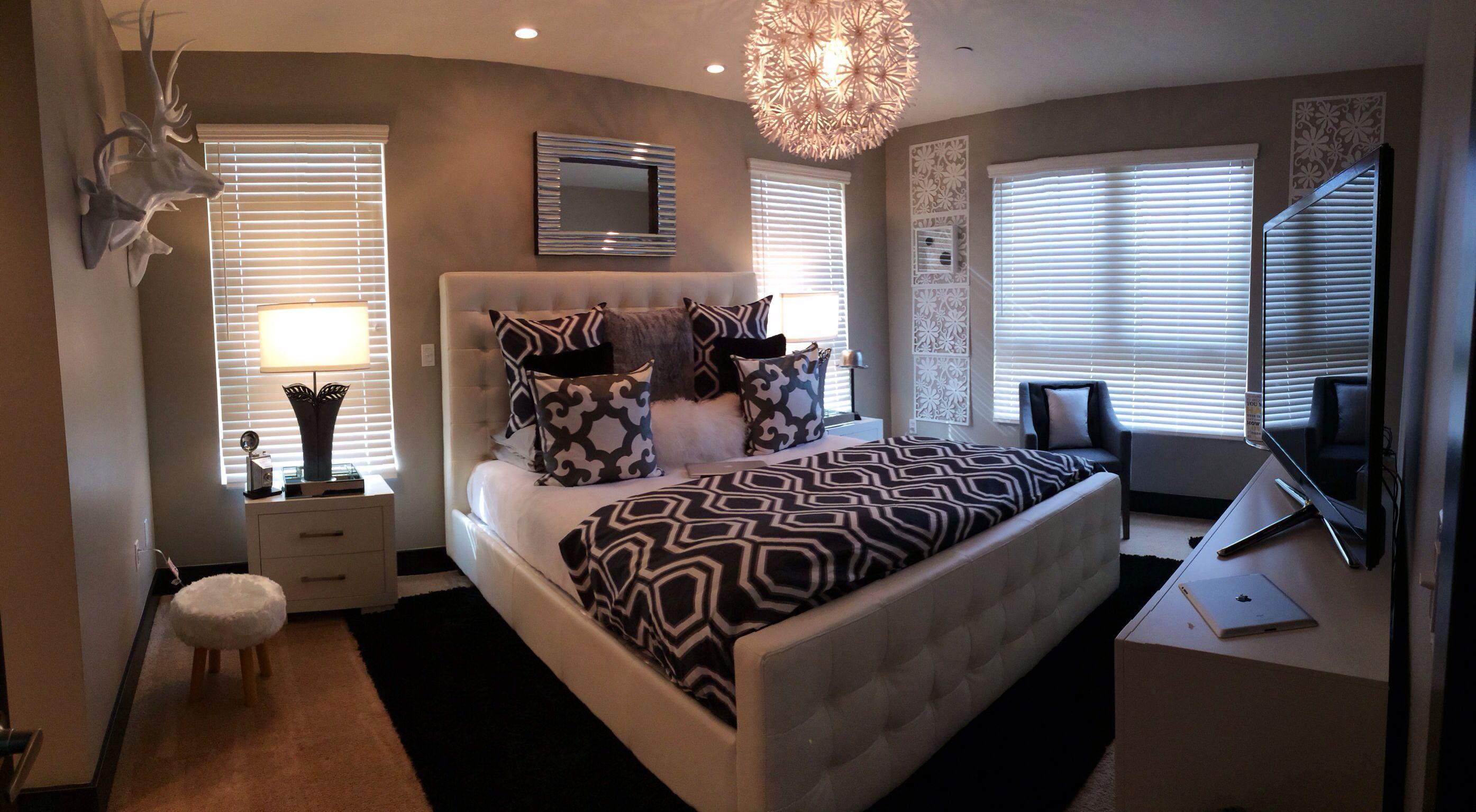Z Gallerie bedroom. Modern,white gray, fur! Home envy