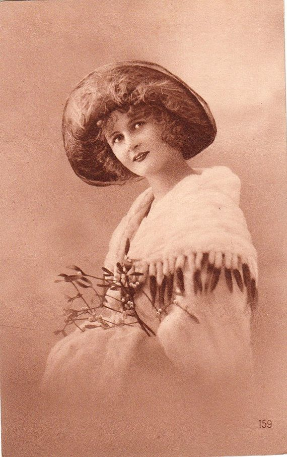 Vintage French Winter Woman Postcard, ca. early 1930s