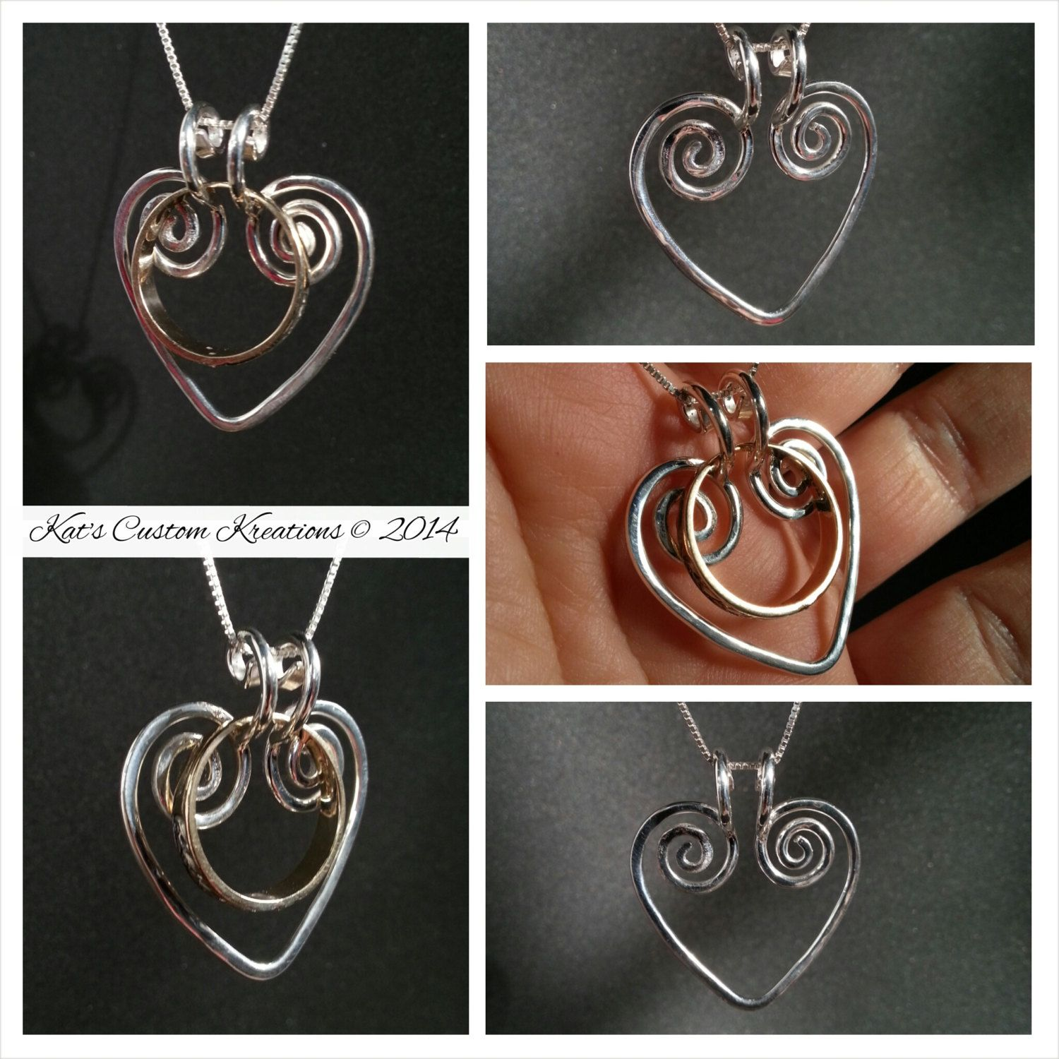 Ring Holder Swirling Heart Pendant Necklace by katscustomkreations