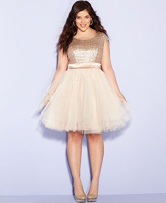 Trixxi Plus Size Dress, Cap-Sleeve Sequin Tulle A-Line - Junior Plus ...