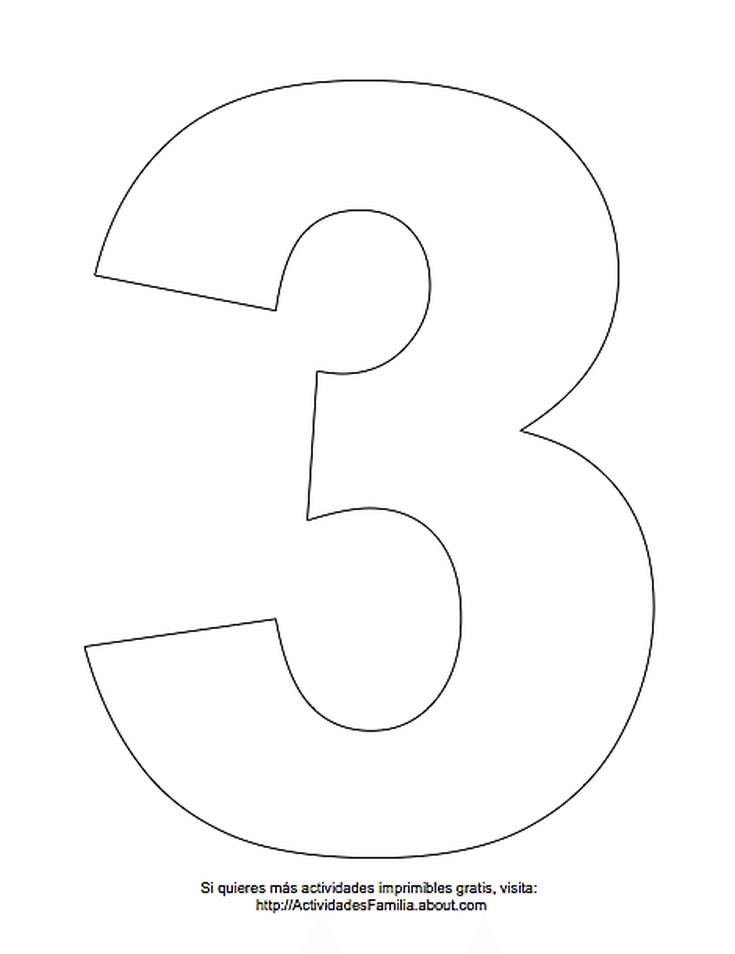 Dibujos de números para colorear: Número 3 para colorear | pan en ...