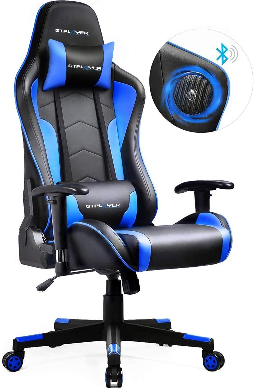 Gtplayer Chaise Gaming De Bureau Fauteuil De Bureau Chaise Gamer Music Avec Haut Parleur Blueto Em 2020 Cadeira De Gamer Decoracao Quarto Pequeno Feminino Quarto Gamer