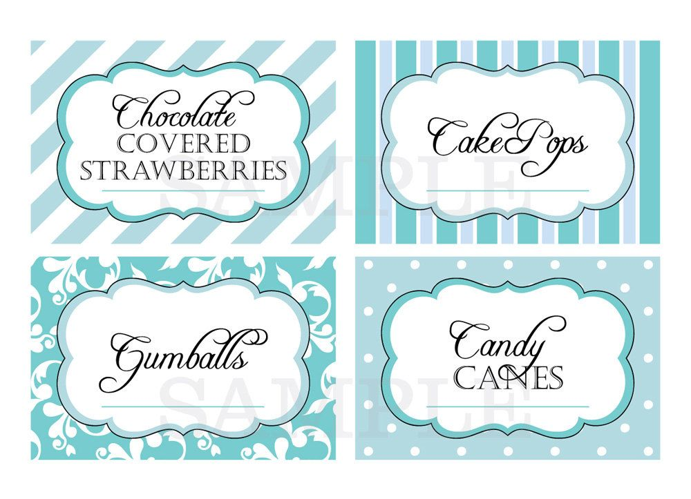 Printable candy buffet labels for wedding or shower shades of blue 1000 via etsy for Candy bar label template