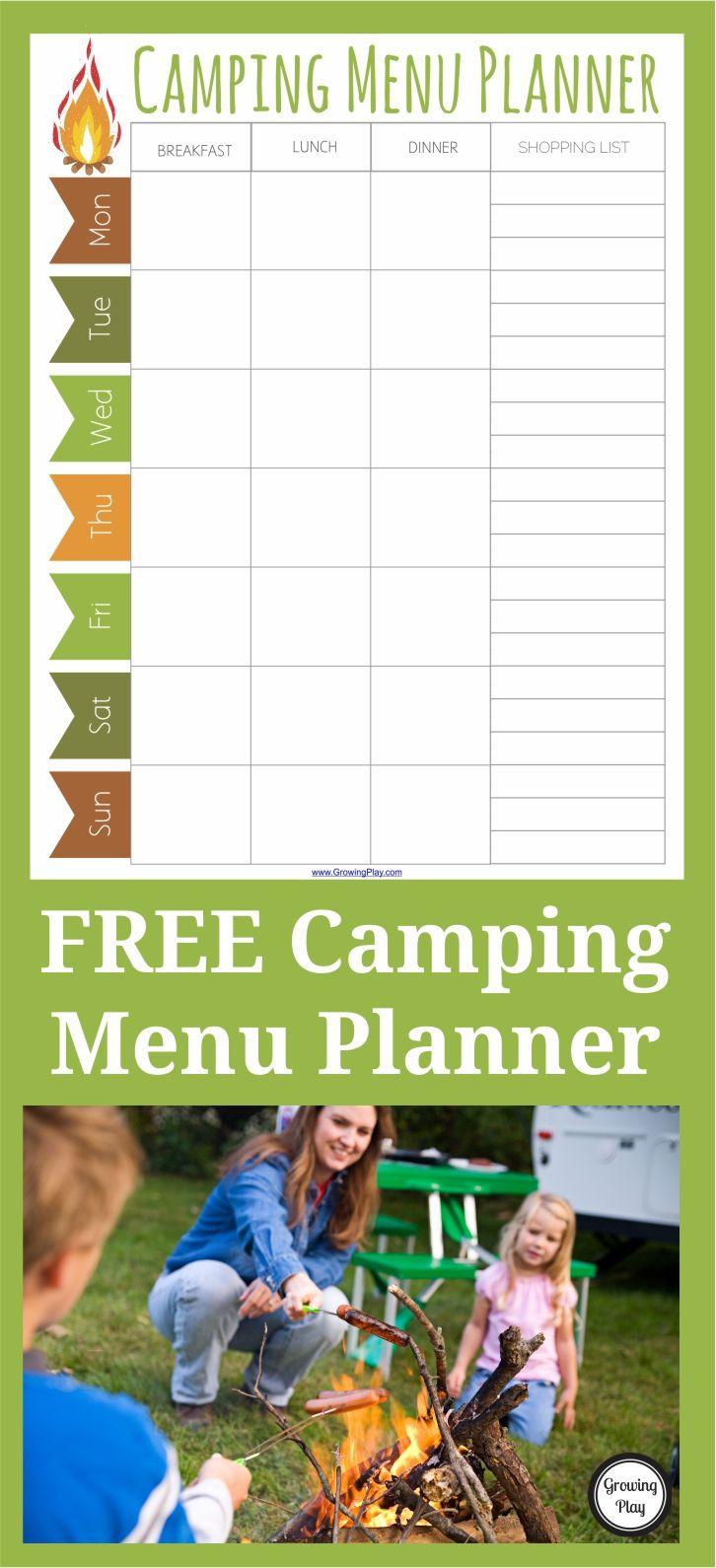 Camping menu planner free printable camping menu