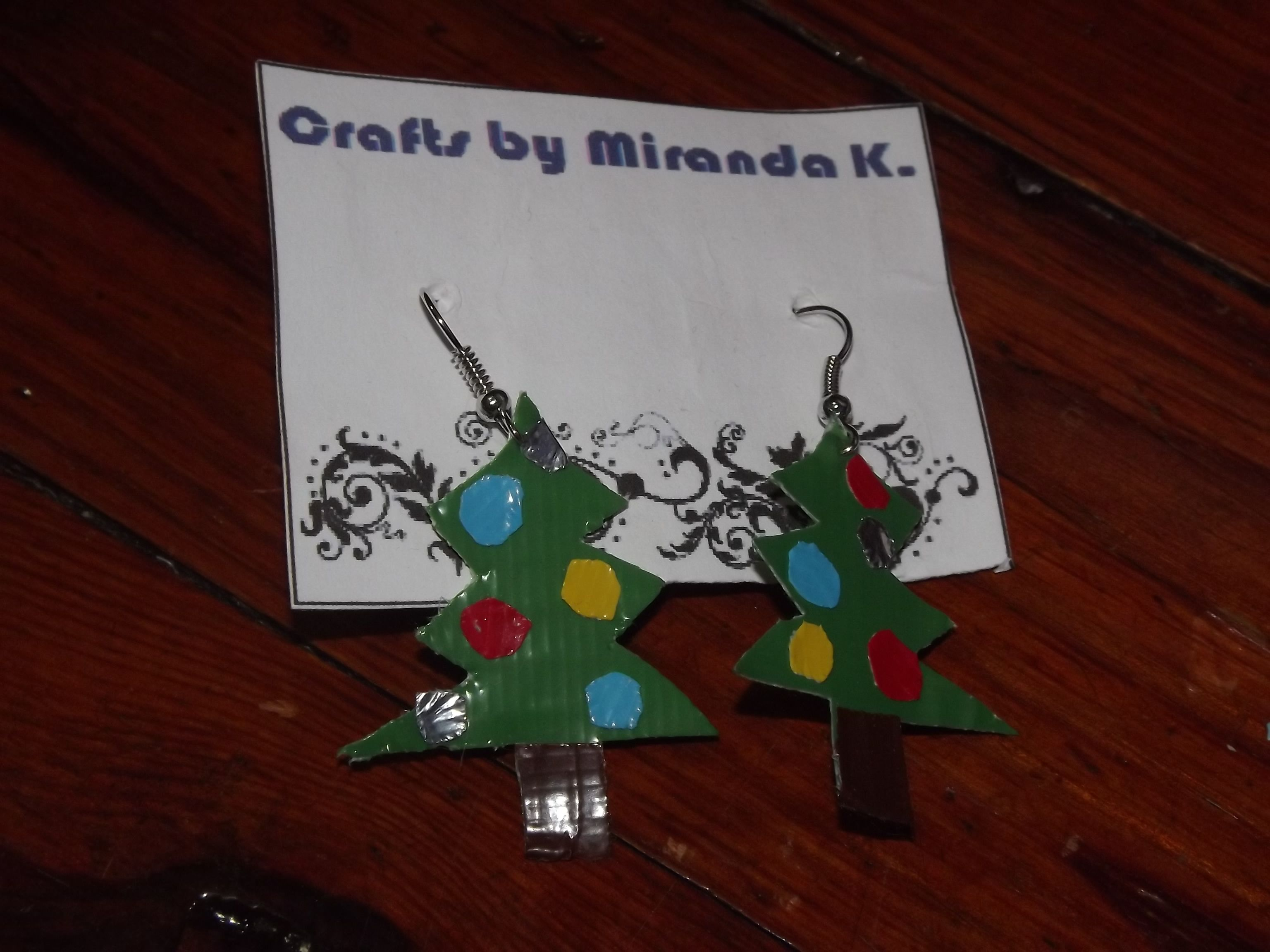 Christmas Tree Duct Tape Earrings only $5!