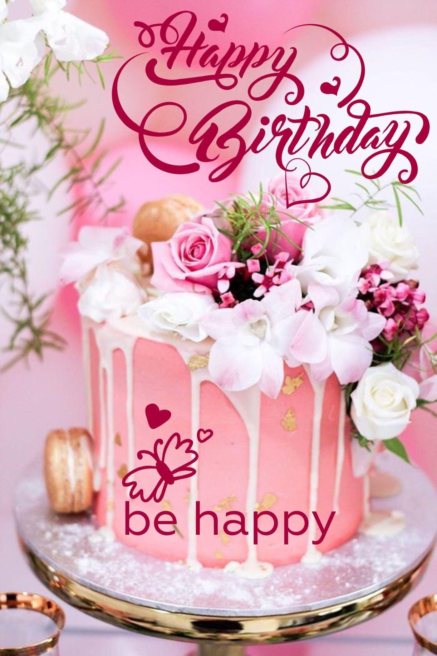 Brilliant Happy Birthday Cake And Flowers Happy Birthday Happy Birthday Personalised Birthday Cards Veneteletsinfo