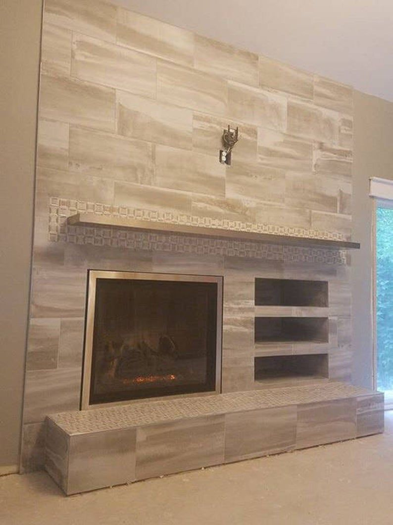 Solid Hairline Stainless 08 Mmlaminated Floating Shelves Etsy In 2020 Fireplace Feature Wall Brick Fireplace Remodel Fireplace Remodel