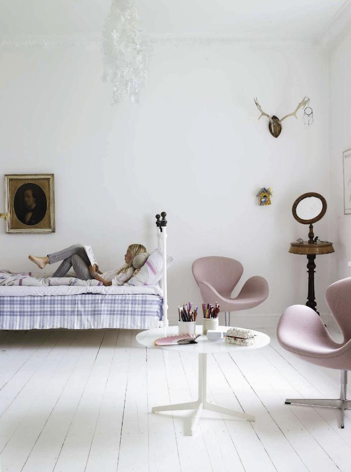 pink and white scandinavian bedroom