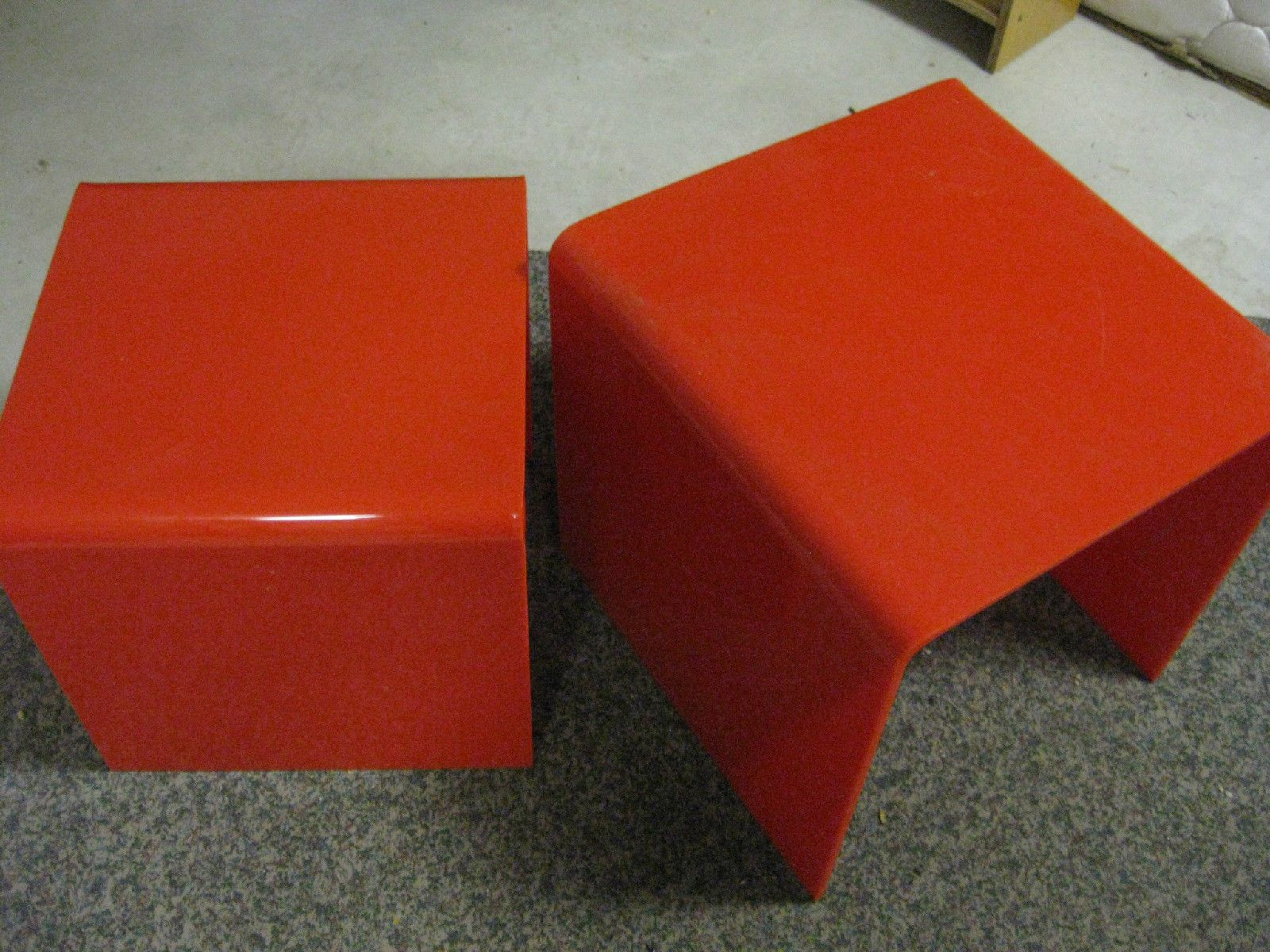 Retro Resin Perspex Side Tables Orange RED Colours Stunning Pieces in Carnegie, VIC | eBay